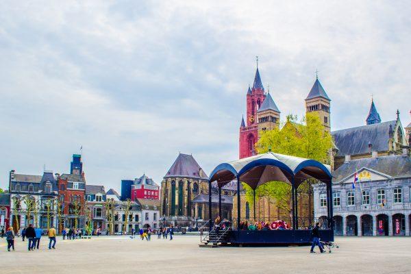 MAASTRICHT, NETHERLANDS, APRIL 12, 2014: View over vrijthof - historical of center of Maastricht.